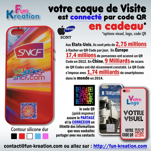 Coque Smartphone/Tablette IPHONE & SAMSUNG. + de 200 modèles au choix (ou avec vos images).  Gratuit, option coque de visite codée QR. Vos questions : contact@fun-kreation.com  ou  sur : http://fun-kreation.com
